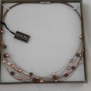 Honora cultured pearl wire necklace -nwt